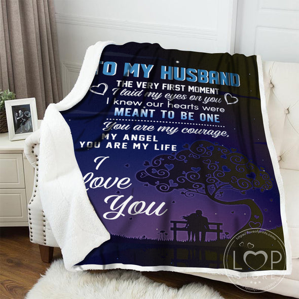 Husband Blanket - To My Husband The Very First Moment I Laid My Eyes On You I Knew Our Hearts Were Meant To Be One Fleece Blanket - LOP Store