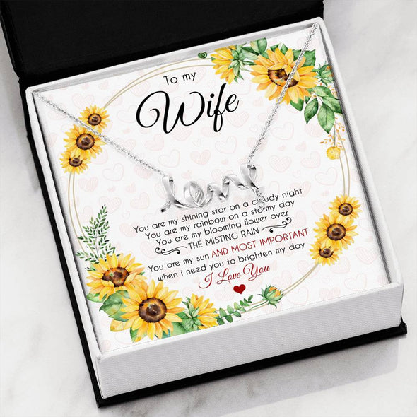 Wife Message Necklace To My Wife You Are My Rainbow On A Stormy Day - Message Love Necklace - LOP Store
