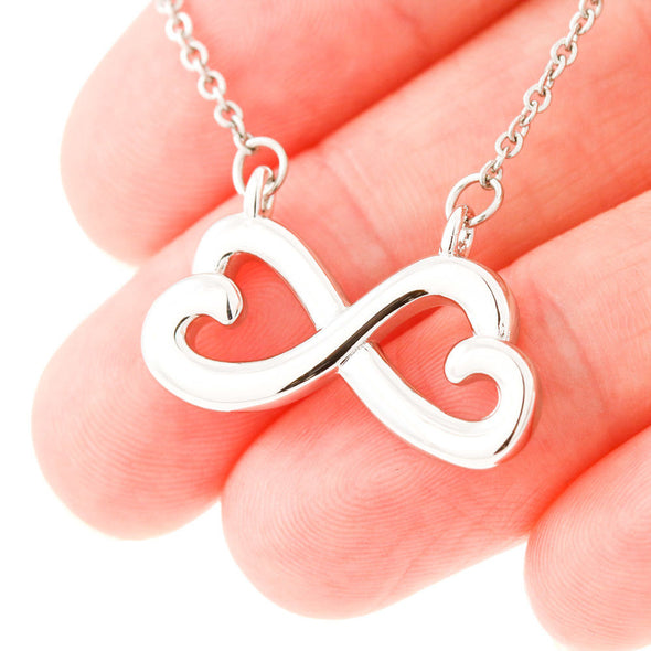 Fiancee Message Necklace To My Fiancee Look Right Beside You I Will Always Be There - Message Infinity Heart Necklace - LOP Store