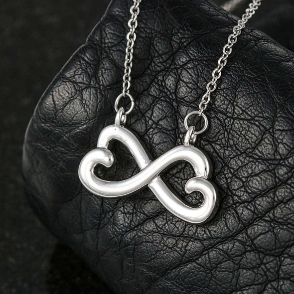 Wife Message Necklace To My Wife I Would Punch Her In The Face and Go Find You - Message Infinity Heart Necklace - LOP Store