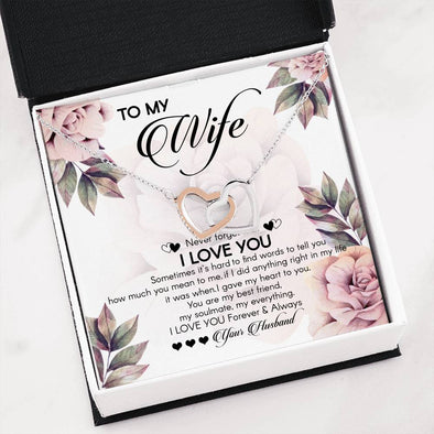 To My Wife I Love You Forever and Always Message Hearts Necklace - LOP Store