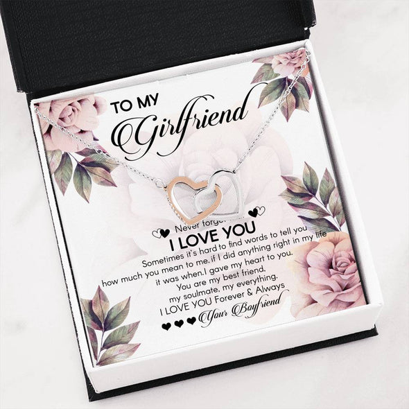 Girlfriend Message Necklace To My Girlfriend You Are My Best Friend My Soulmate Love You Forever and Always - Message Hearts Necklace - LOP Store