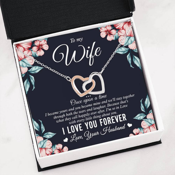 Wife Message Necklace To My Wife I Love You Forever Happily Ever After - Message Hearts Necklace - LOP Store