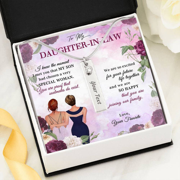 Daughter-In-Law Message Necklace To My Mother-In-Law I Knew The Moment I Met You That My Son Has Chosen A Very Special Woman - Birthstone Name Necklace - LOP Store