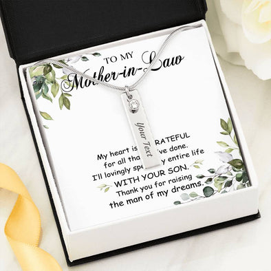 Mother-In-Law Message Necklace To My Mother-In-Law Thank You For Raising The Man Of My Dreams - Birthstone Name Necklace - LOP Store