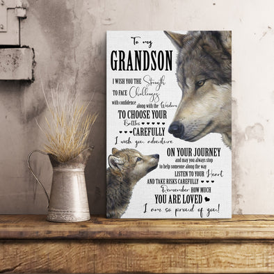Grandson Canvas - To My Grandson I Wish You The Strength To Face Challenges With Confidence Canvas - LOP Store