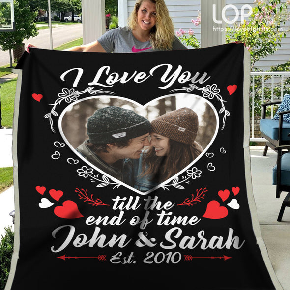Love Anniversary Blanket - I Love You Till The End of Time Customized Photo Blanket - Black - LOP Store