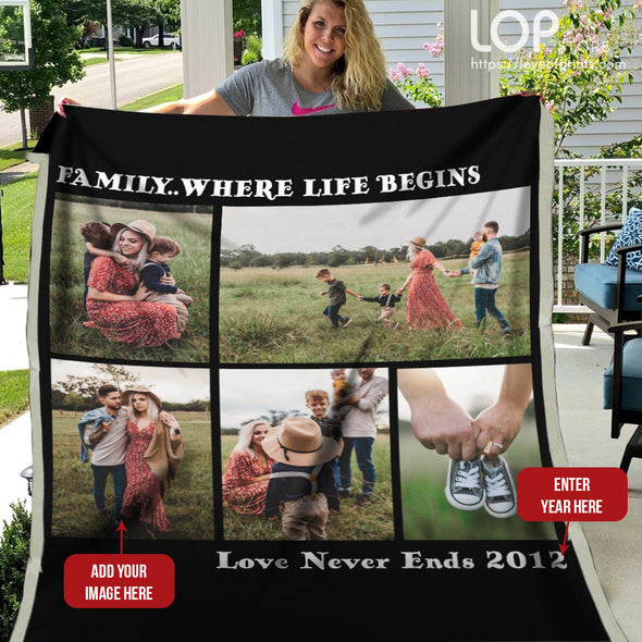 Family Where Life Begins Customized Photo Fleece Blanket - LOP Store