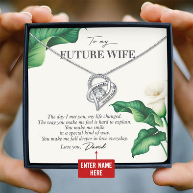 Wife Personalized Message Necklace To My Future Wife The Day I Met You My Life Changed - Sterling Silver Necklace - LOP Store