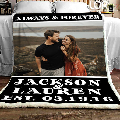 Custom Photo Fleece Blanket Always & Forever - LOP Store
