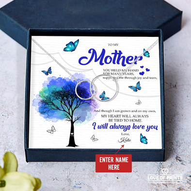 Mother Gift Personalized Message Necklace You Supported Me Through Joy and Tears I Will Always Love You - Sterling Silver Necklace - LOP Store