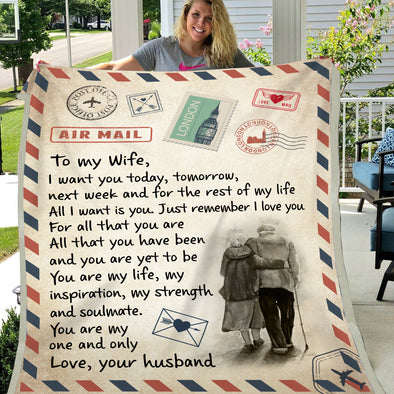 Wife Blanket -  To My Wife You Are My Life My Inspiration My Strength And Soulmate You Are My One And Only Fleece Blanket