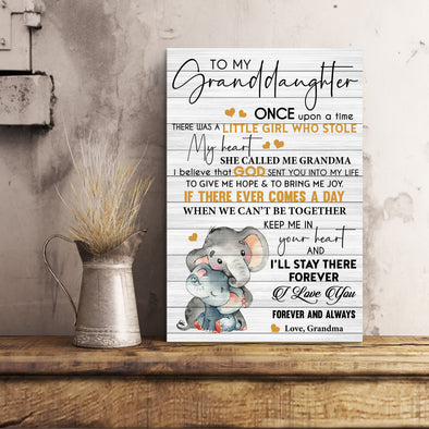 Granddaughter Canvas - To My Granddaughter Once Upon A Time There Was A Little Girl Who Stole My Heart Canvas - LOP Store