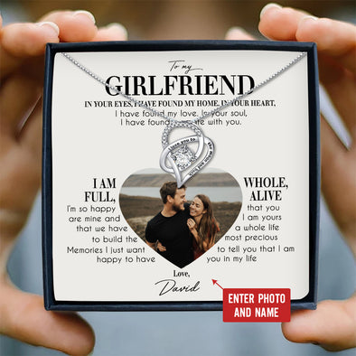 Girlfriend Personalized Photo Message Necklace To My Girlfriend I'm So Happy That You Are Mine I Am Yours - Sterling Silver Necklace - LOP Store