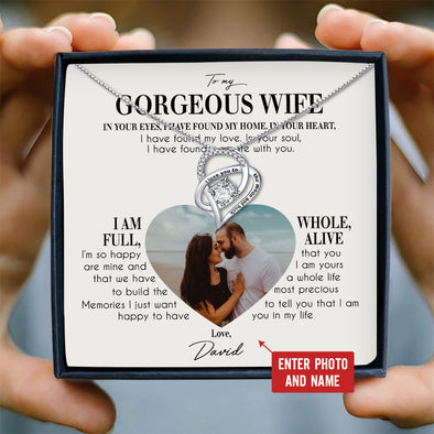 Wife Personalized Photo Message Necklace To My Gorgeous Wife I'm So Happy To Have You In My Life - Sterling Silver Necklace - LOP Store