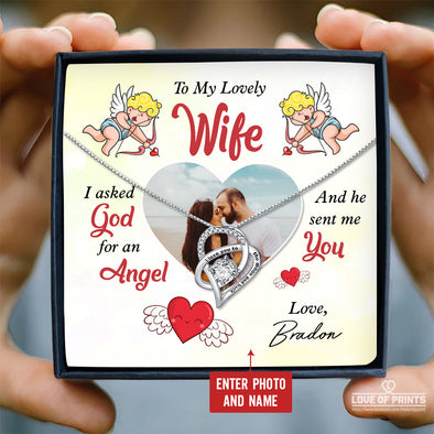 Wife Personalized Photo Message Necklace To My Lovely Wife God Sent Me You An Angel - Sterling Silver Necklace - LOP Store