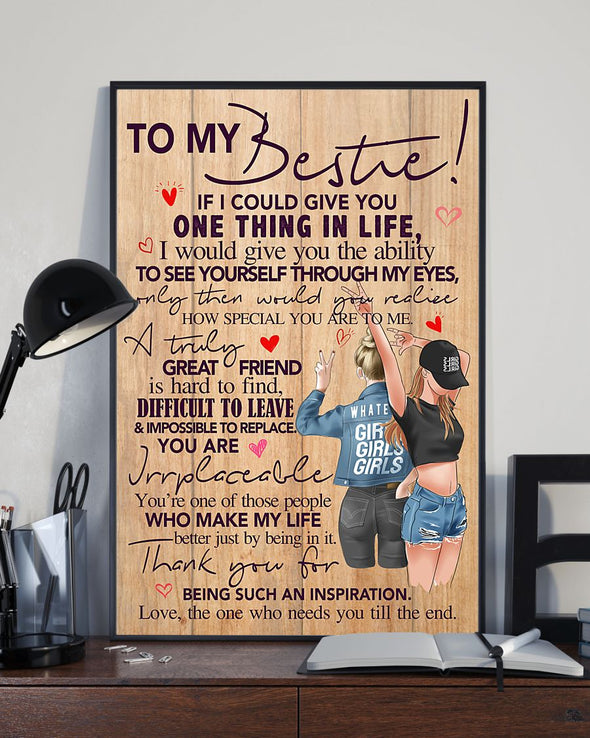Friend Canvas - To My Bestie A Truly Great Friend Is Hard To Find Difficult To Leave and Impossible To Replace Canvas - LOP Store