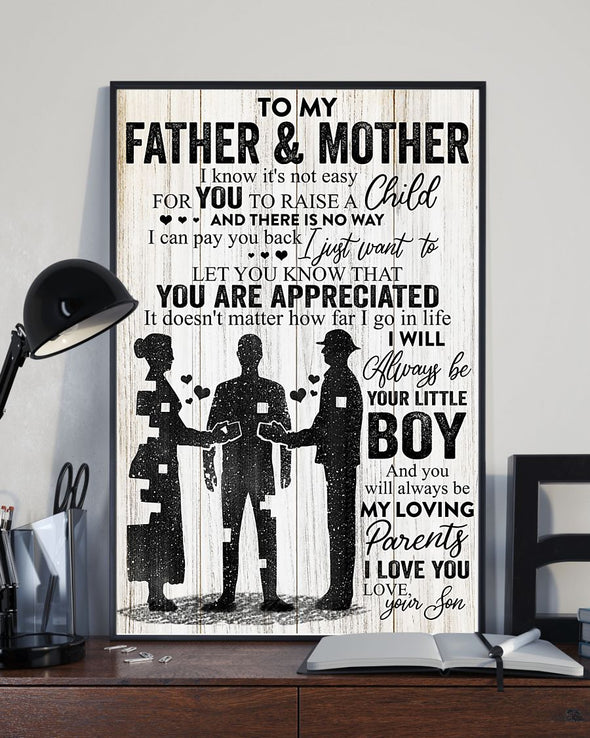Father & Mother Canvas - To My Father and Mother There Is No Way I Can Pay You Back I'll Always Be Your Little Boy Canvas - LOP Store