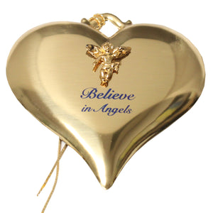 Gold-tone Heart Ornament with Angel