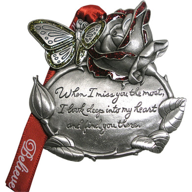 Remembrance Rose and Butterfly Ornament
