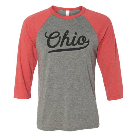 """Two-Tone Ohio Script"" Baseball 3/4 Sleeve"