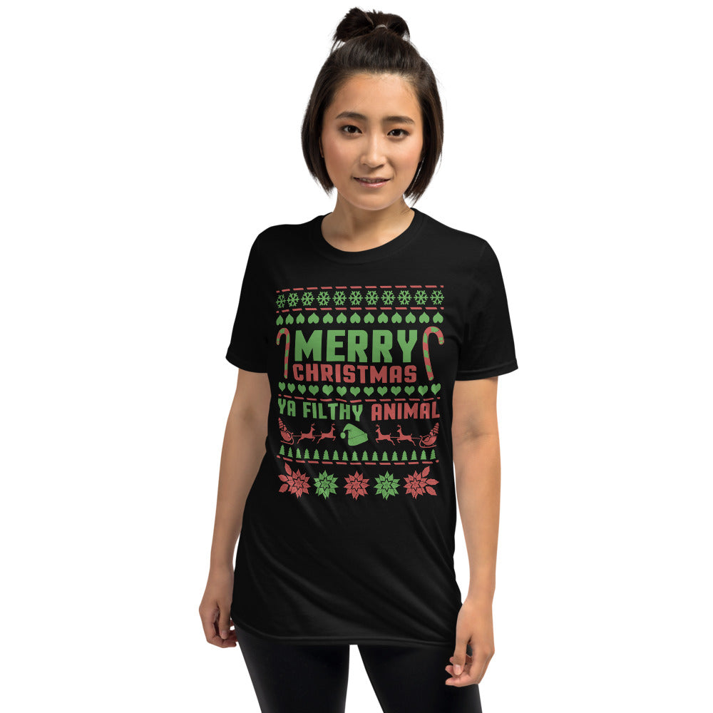 Merry Christmas Ya Filthy Animal Short-Sleeve Unisex T-Shirt - Crazy About Tshirts