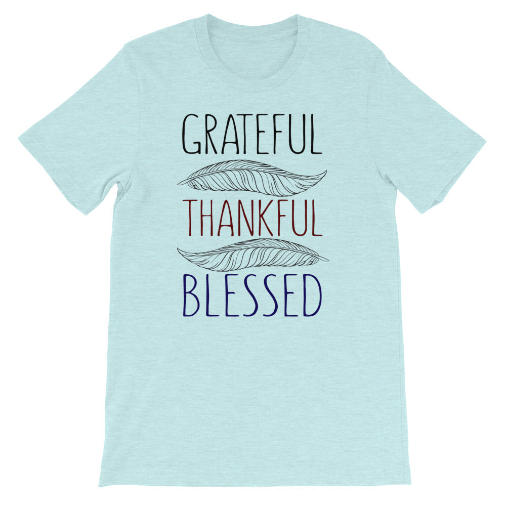 Grateful Thankful Blessed Women's Short-Sleeve Bella T-Shirt - Crazy About Tshirts