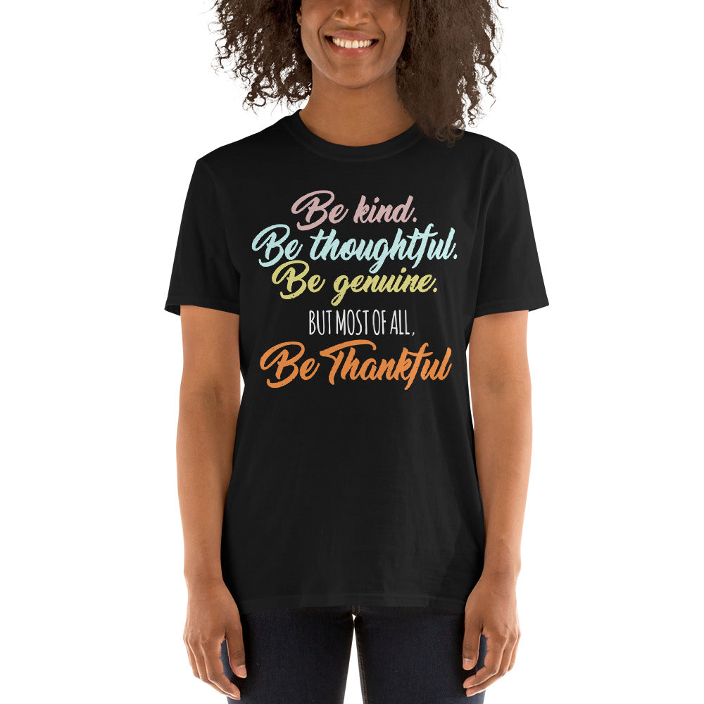 Be Kind Be Thankful Short-Sleevee Bella Women's T-shirts - Crazy About Tshirts