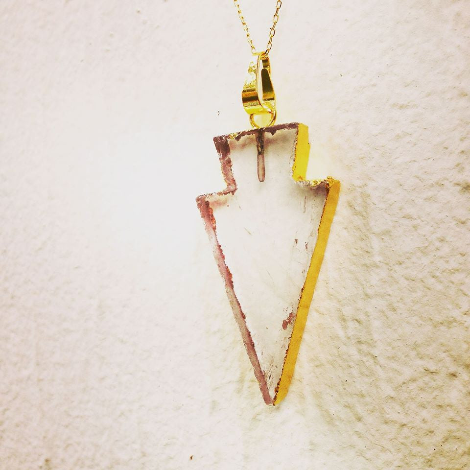 14k Gold Painted Clear Crystal Arrowhead Necklace
