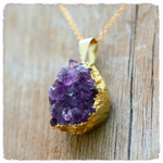 Handmade Gold Dipped Amethyst Crystal Necklace