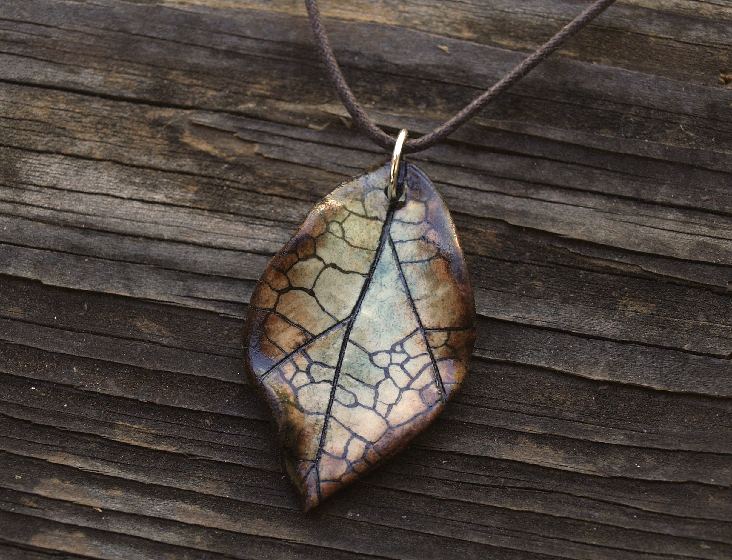 Sea Blue Leaf Necklace