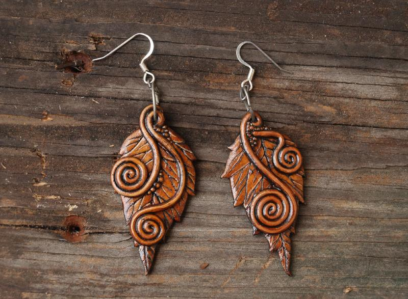 Spiral Leaf Earrings