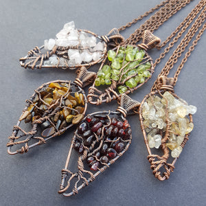Handmade Copper & Stone Tree of Life Necklace