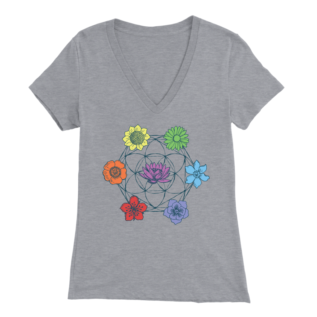 7 Chakra Flower of Life - V-Neck Tee