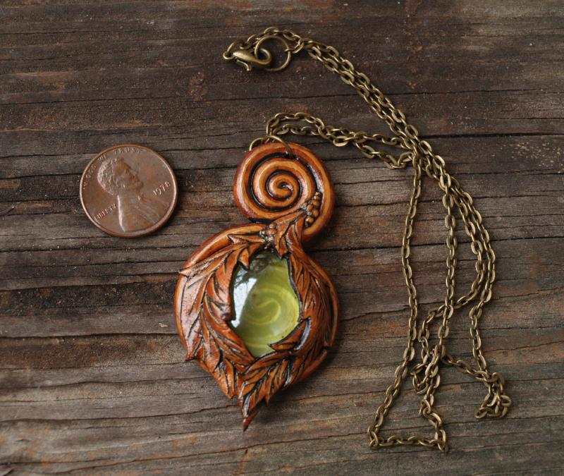 Green Glass Spiral Leaf Necklace