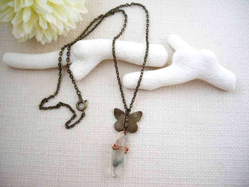 Raw Moss Quartz Butterfly Necklace
