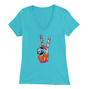 Tie Dye Peace Sign - V-Neck Tee