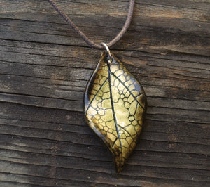 Sun Drenched Leaf Necklace