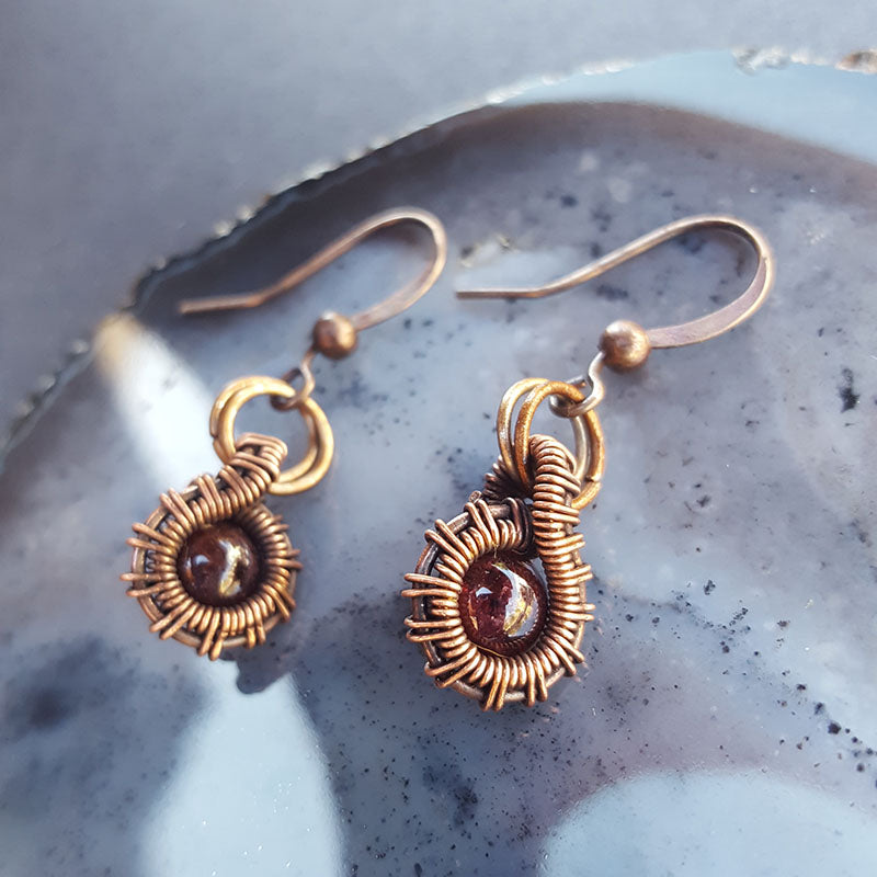 Copper Droplet Earrings