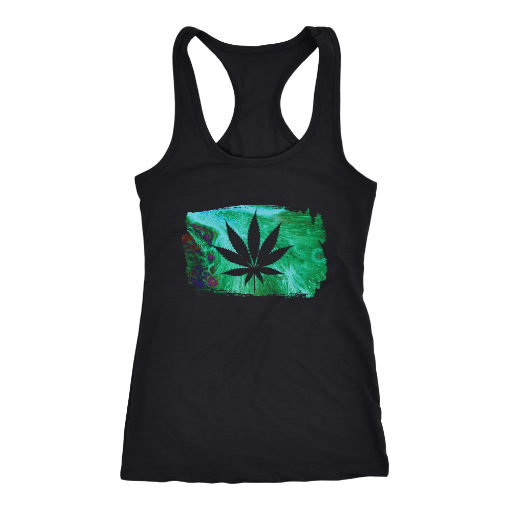 Acid Paint Stroke Weed Leaf - Tank Top