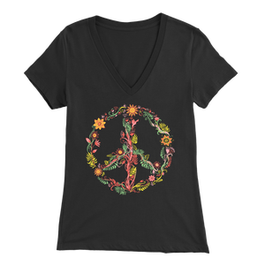 Sunny Flowers Peace Sign - V-Neck Tee