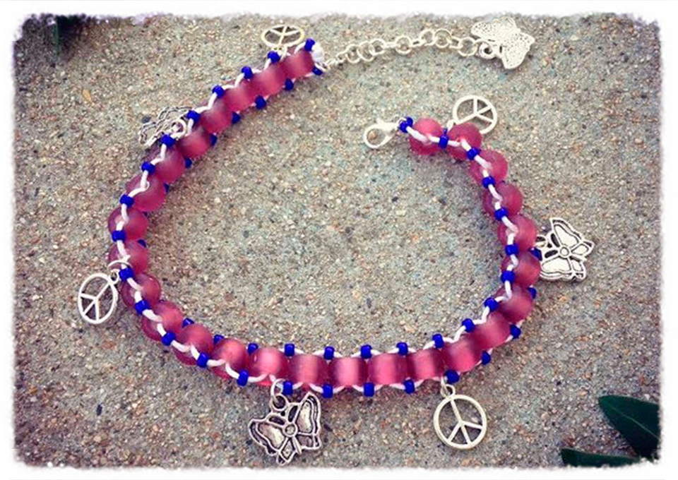 Handmade Butterfly Peace Charm Anklet