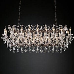 19th c. Rococo Chandelier Rustic Ceiling Lamp with Premium K9 Crystal