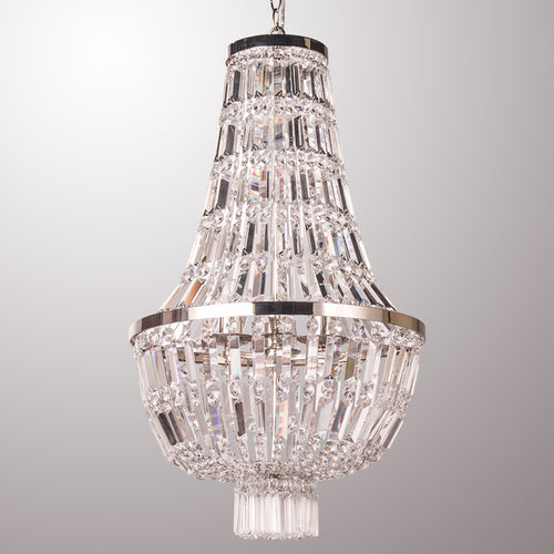 Polished Silver Crystal Chandelier Luxury Pendant Lamp