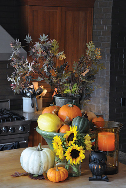 Beautiful Rustic Kitchen Counter with a Fall Display