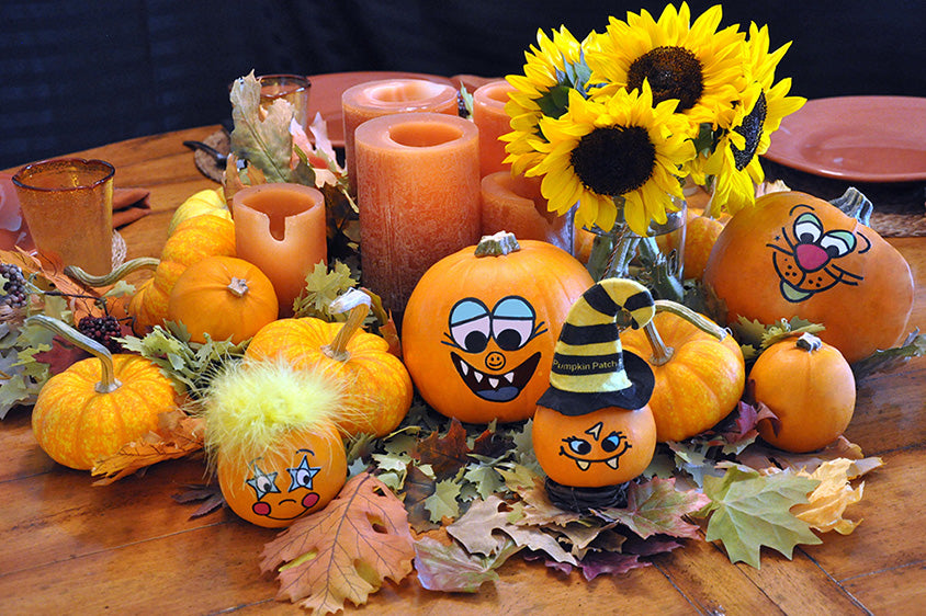 A Fun Fall Table Display with Pumpkins