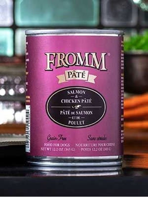 Fromm Gold Salmon and Chicken Pate Canned Dog Food 12 oz.