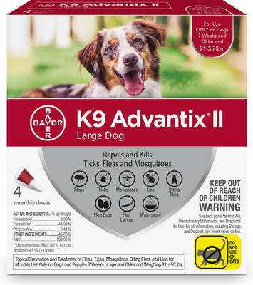K9 Advantix II for Large Dog Breeds 4 Pack - Red