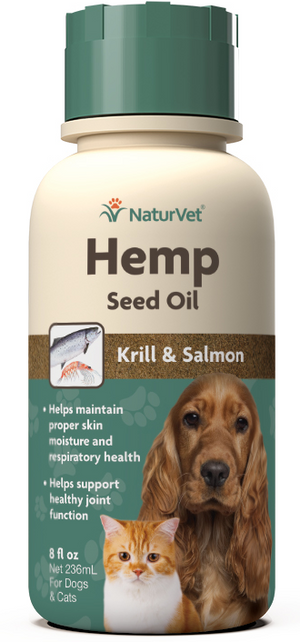 NaturVet Hemp Oil with Krill and Salmon for Dogs and Cats 8 oz.