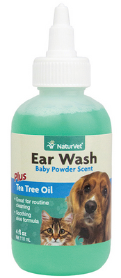 NaturVet Ear Wash with Tea Tree Oil for Dogs and Cats 4 oz.